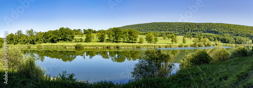 landscape in the french Jura region at river Doubs Canvas Print