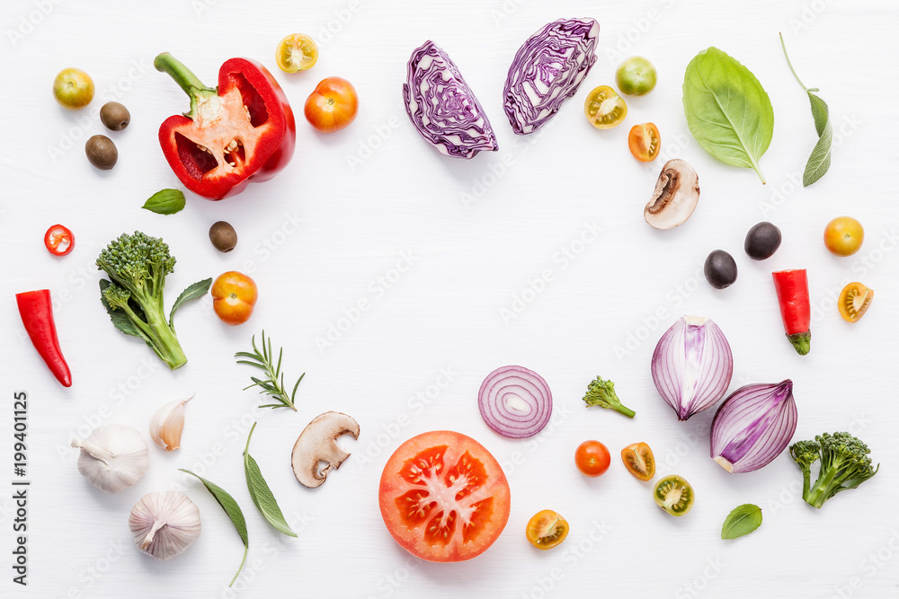 Fototapety, obrazy: Various fresh vegetables and herbs on white background.Ingredients for cooking concept sweet basil ,tomato ,garlic ,pepper and onion with flat lay..