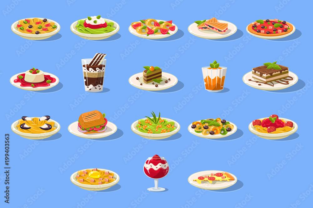 Obraz Food big set, Italian cusine dishes pizza, pasta and desserts vector illustration fototapeta, plakat