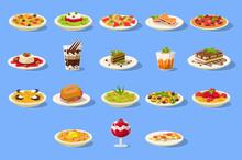 Food Big Set, Italian Cusine Dishes Pizza, Pasta And Desserts Vector Illustration