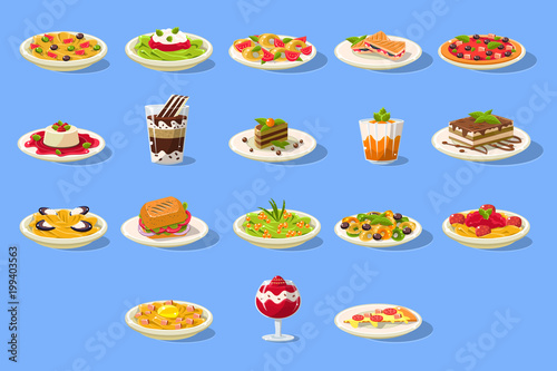 Photo Food big set, Italian cusine dishes pizza, pasta and desserts vector illustratio