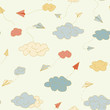Vector seamless pattern with origami paper airplanes. Pattern for fabric, baby clothes, background, textile, wrapping paper and other decoration.Vector illustration.