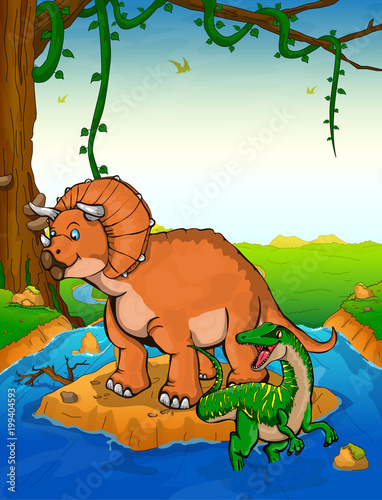 Poster Oiseaux, Abeilles Triceratops on the background of a waterfall.