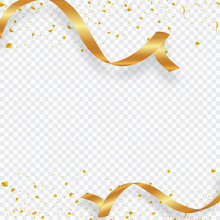 Golden Confetti Isolated On A Transparent Background. Vector Illustration.