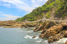 Suspended Bridges During Trekking Route Over Storms River Mouth In Tsitsikamma National Park, Eastern Cape, Near Plettenberg Bay In South Africa. Famous Tourist Destination Along Garden Route.