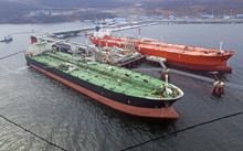 Aerial View Of Oil Tanker Ship...