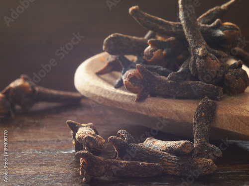 Fotografie, Obraz  Dry cloves  close-up, macro photo.