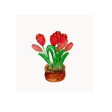 Watercolor Illustration Flowers Red Tulips In A Brown Pot