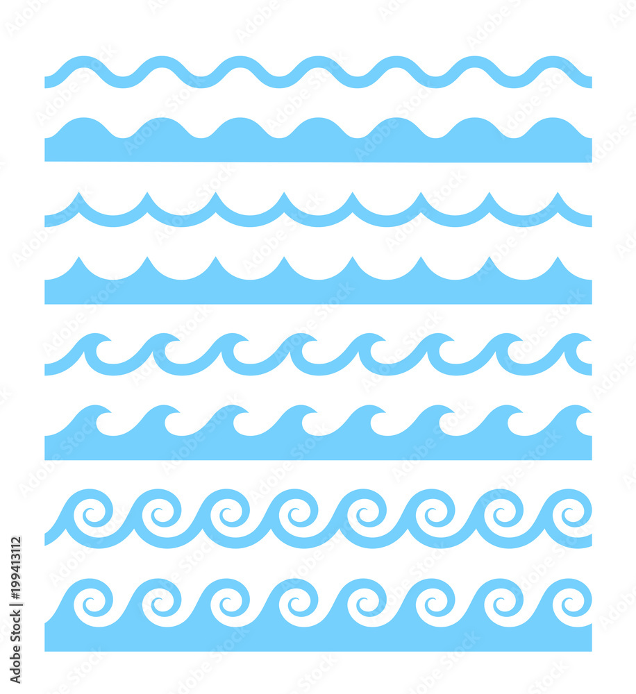 Fototapety, obrazy: Vector blue wave pattern icons set