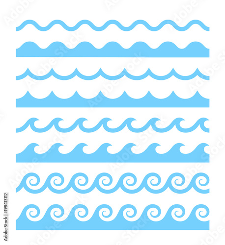 Vector blue wave pattern icons set Fototapete