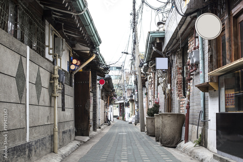 Photo  Old street alley in Seoul - Side street with old, shabby buildings, located in t