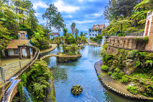 Panoramic view of tropical garden in summer season. Madeira island, Portugal
