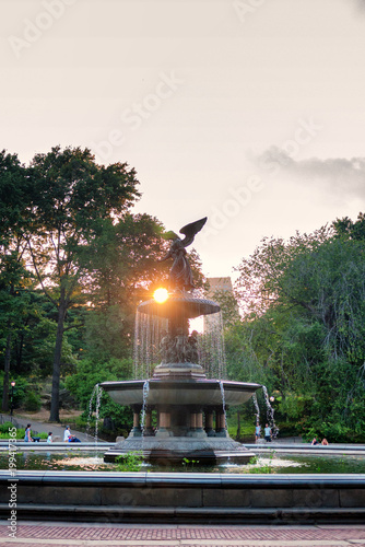 Photo  Bethesda Pool and its famous statue in Central Park in New York City on a summer