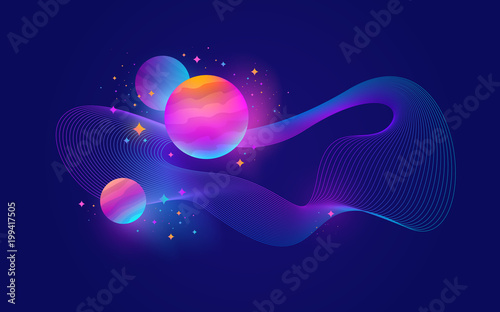 Fotografie, Obraz  Planets with glow effect, stars and abstract waveform - vector illustration,