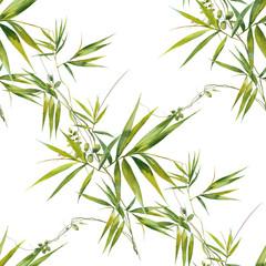 Fototapeta Bambus Watercolor illustration of bamboo leaves , seamless pattern on white background