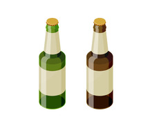 Green And Brown Isometric Beer...