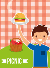 Happy Man Holding Burger With Fruit Basket With Picnic Checkered Tablecloth Vector Illustration