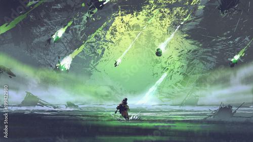 man running from meteorite or debris rocks with fire falling into the sea, digit Fototapeta
