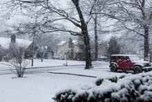Big Snow Flakes Falling In Spr...