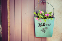 Green Basket With Welcome And ...