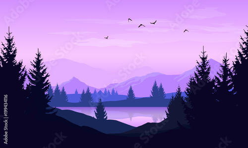 Foto op Plexiglas Purper Vector cartoon landscape with purple silhouettes of trees, mountains and lake