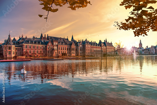 Sunset on the Binnenhof building and The Hague city reflected on the pond with a Canvas Print