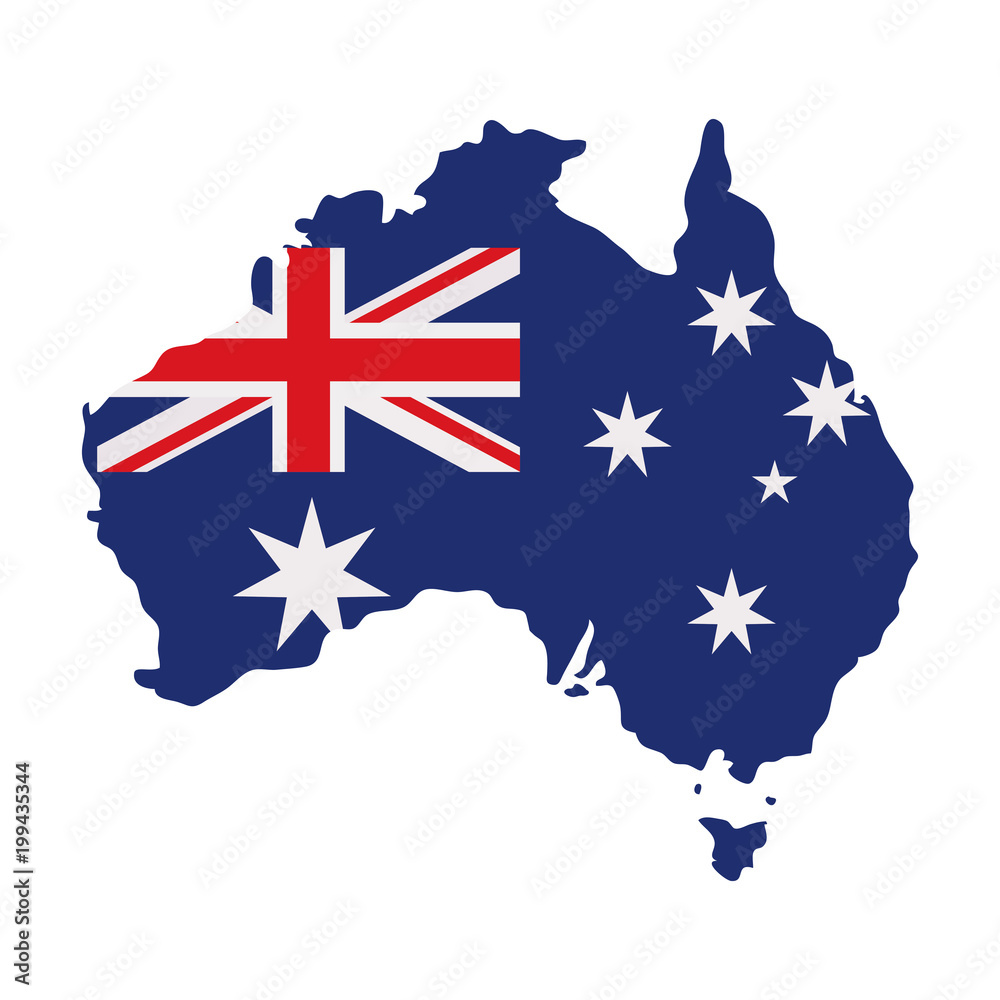 Fototapeta australia map with flag