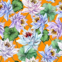 Beautiful Floral Seamless Pattern. Large Lotus Flowers With Stems And Leaves On Bright Orange Background. Hand Drawn Exotic Illustration. Watercolor Painting.
