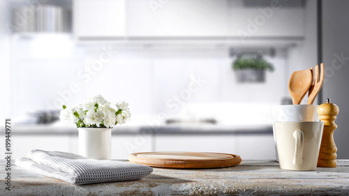 Valokuva  white kitchen background of free space for your decoration
