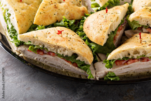 Tray of turkey sandwiches