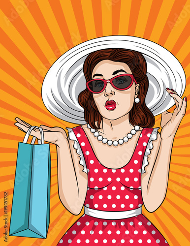 ca51032ff Vector retro illustration of pop art comic style beautiful woman in  sunglasses and big hat go shopping. A Vintage poster of a girl with  ahopping bag