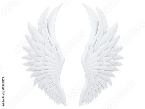 Foto white angel wings isolated on a white background 3d rendering
