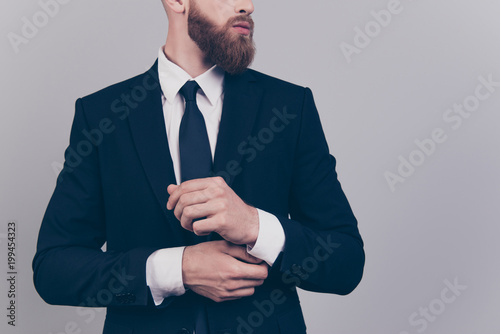 Fotografía  Cropped close up portrait of elegant confident serious strict harsh leader succe