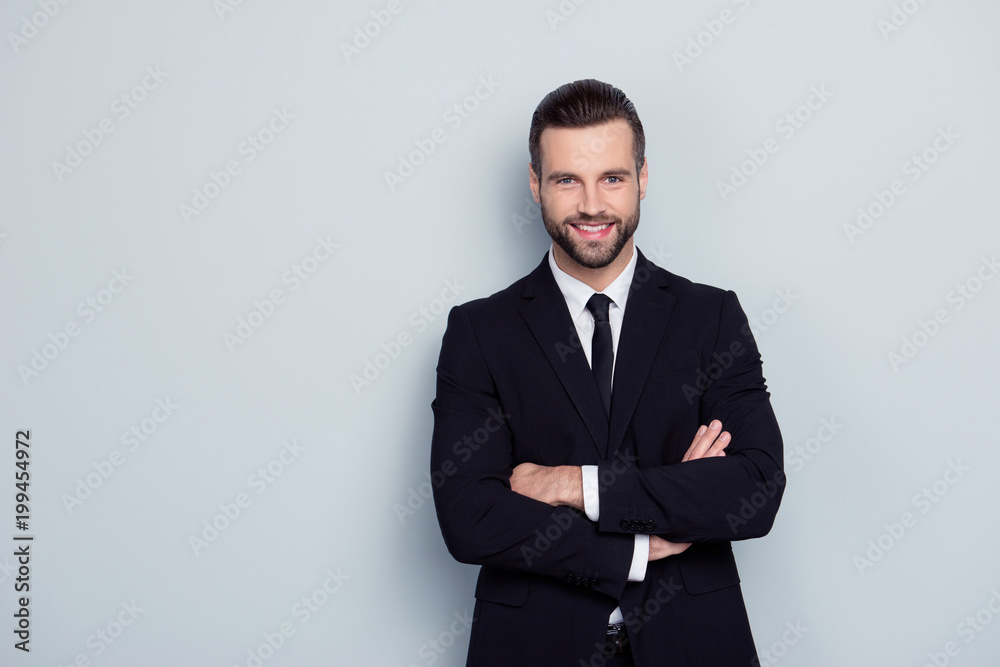 Fototapeta People occupation leadership profession concept. Portrait of cheerful excited confident handsome smart intelligent modern with stylish hairdo expert representative isolated on gray background