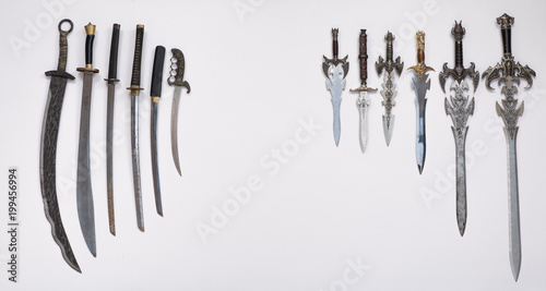 collection of medieval swords knives and daggers buy this stock