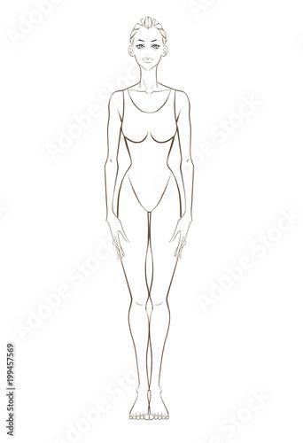 健康イメージ女性全身白黒線画 Adobe Stock でこのストックイラストを購入して 類似のイラストをさらに検索 Adobe Stock