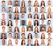 Collage Of Diverse People Expressing Positive Emotions Happiness Smile Joy