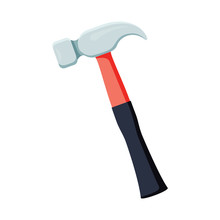 Carpenter Hammer Tool Icon. Ve...