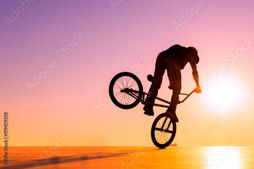 BMX rider at sunset Poster Mural XXL