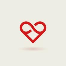 Outline Vector Logotype Of Heart. Design Concept Of Infinite Heart