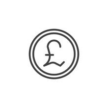 Pound Coin Outline Icon. Linea...