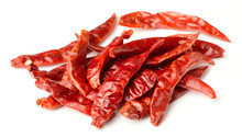 Dried Red Chillies Isolated On...