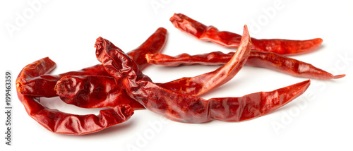dried red chillies isolated on white Canvas Print