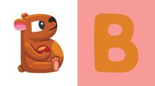 B Is For Bear. Letter B. Bear, Cute Illustration. Animal Alphabet.