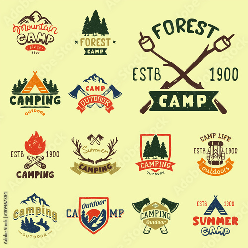 Obraz Set of vintage woods camp badges and travel logo hand drawn emblems nature mountain camp outdoor vector illustration. - fototapety do salonu