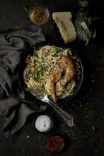 Spaghetti Alla Carbonara And Roast Chicken