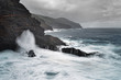 Strong surf on a rocky coast in stormy weather, water movement in long exposure - Location: Spain, Canary Islands, La Palma