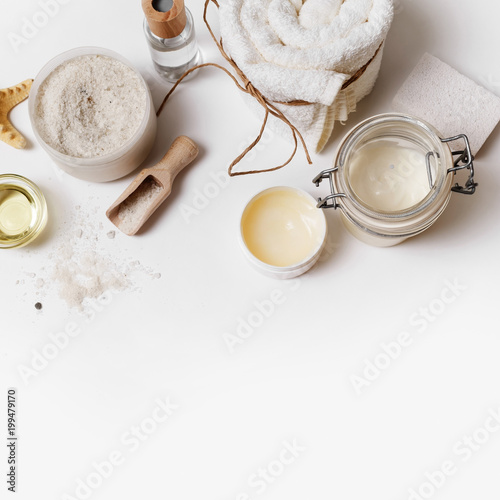 Tuinposter Spa Spa and beauty threatment. Body care and cosmetic products on paper background. Space for text. Top view. Flat lay.
