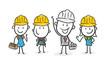 Strichfiguren / Strichmännchen: Team, Bauarbeiter. (Nr. 212)