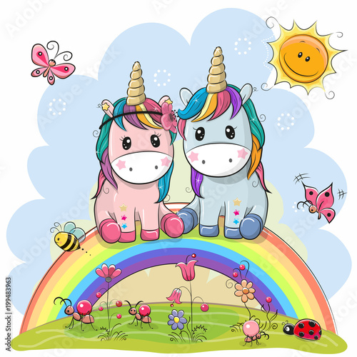Fotomural Two Cartoon Unicorns are sitting on the rainbow